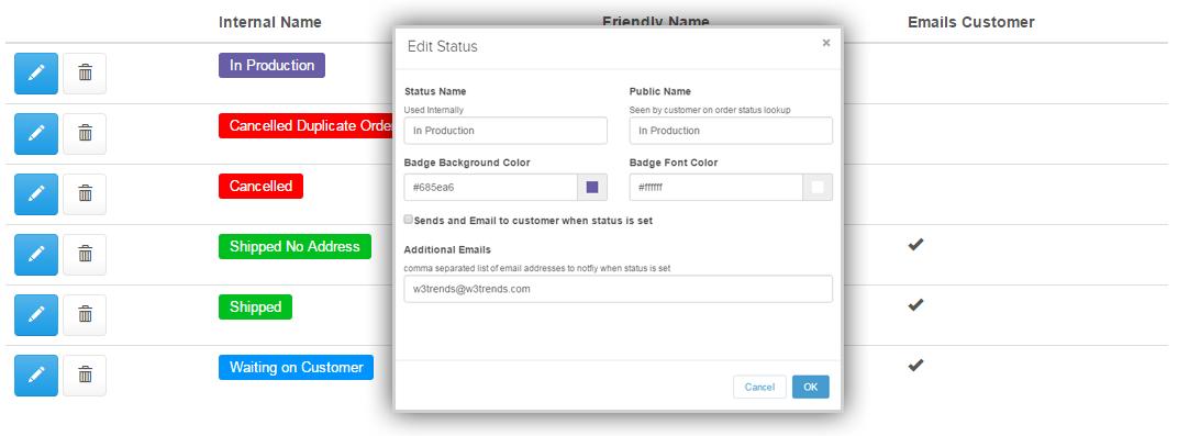 Step 1: Create Order Statuses – W3trends, Inc